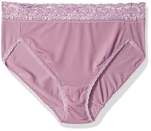 Vanity Fair Women's Flattering Lace Hi Cut Panty 13280, Serene Mauve Stripe, Medium/6