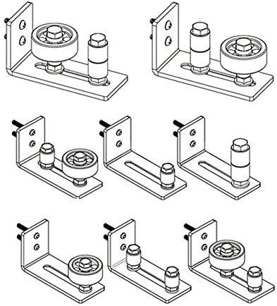 Guía de rodillo para puerta corredera con parte inferior negra para puerta corredera, herramientas de montaje de pared ajustable, guía de estancia, 8 en 1, opciones de configuración, guías de canal, se