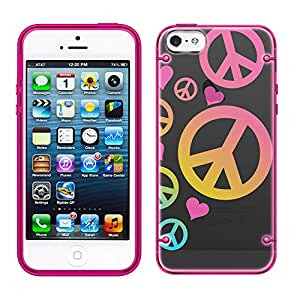 iPhone 6 Colorful Peace on Black See Through Case with Glow Pink Trim