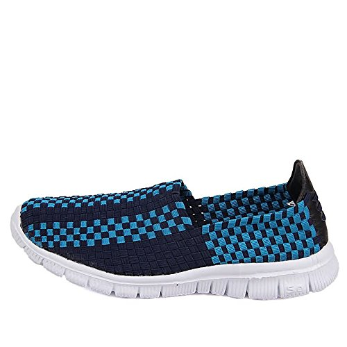 Blu per Scarpe Donna Slip da Grid Pattern da Cricket Sneaker Ginnastica Leisure Splice e Uomo On Scarpe Vamp Fashion qEUBq