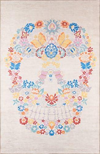 Novogratz District Collection Skull Area Rug, 5 0 x 7 6 , Multicolor