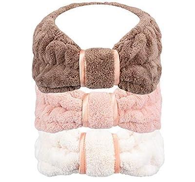 HOPESHINE Spa Facial Headband for Washing Face Women Makeup Terry Cloth Headbands Elastic Head Wrap Great Gift for Women Girls 3-pack