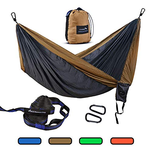 Geezo Double Camping Hammock, Lightweight Portable Parachute (2 Tree Straps 16 LOOPS/10 FT Included) 500lbs Capacity Hammock for Backpacking, Camping, Travel, Beach, Garden (Black/Grey)
