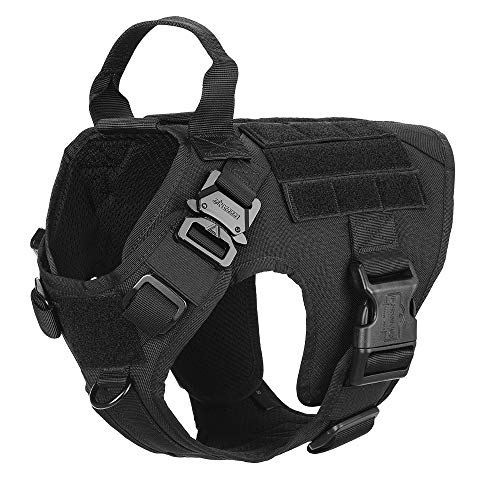ICEFANG Small Tactical Dog Harness,K9 Working Dog Vest,No Pulling Front Leash Clip D-Ring, Metal Buckle, Hook and Loop Fastener Sticky Back for Dog Patch (S (22-27 Girth), BK-Metal Buckle)