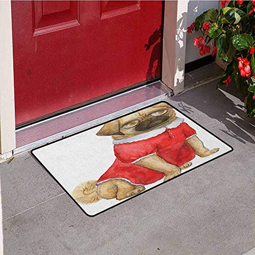 Gloria Johnson Pug Commercial Grade Entrance mat Cute Dog in Red Dress Animal Cartoon Style Design Funny Pet Picture Print for entrances garages patios W23.6 x L35.4 Inch Pale Brown Red Brown]()