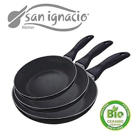 exclusivo Set de 3 sartenes SAN ignacio de Bio cerámica negra - diámetro 16/20/24 - Sartén ...