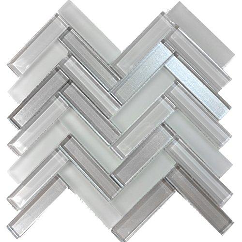 (Modket TDH227MO Gray Crystal Glass Blend Metallic Cold Spray and Matted Glass Mosaic Tile Backsplash Herringbone)