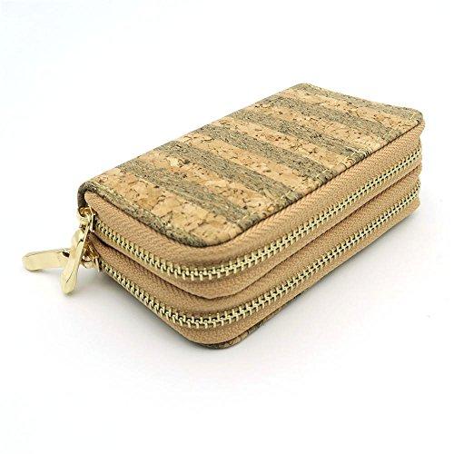 Natürliche Kork Frauen Brieftasche, Bifold Multi Card Case Wallet Clutch lange magnetische Flip Vegan Wallet, Imprägnierung wachsartige Substanz (Gold) Tasche-272 - (Ecorcho)