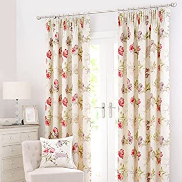 Dunelm Mill Red Tulip Pencil Pleat Curtains 90x90 inches Cream and ...
