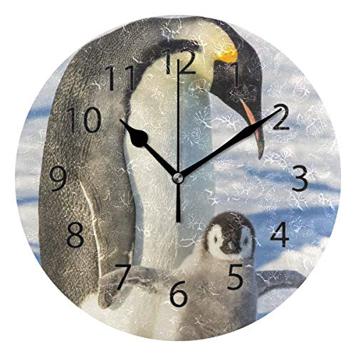 LONK Wall Clock,Round 10 Inch Diameter Silent Penguin Snow Decorative for Home Office Kitchen Bedroom
