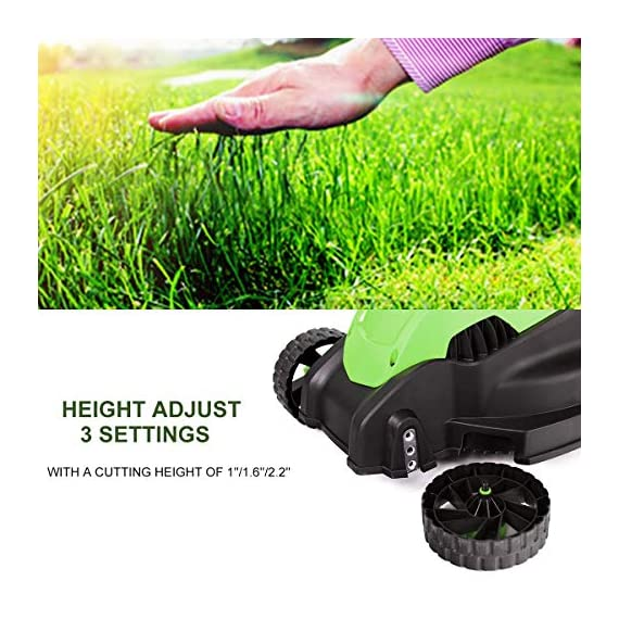 Goplus 14-Inch 12 Amp Lawn Mower w/Grass Bag Folding Handle Electric Push Lawn Corded Mower 4 【Height Adjustable and Comfortable Grip】This lawn mower features 3 level adjustable height: 1''/1.6''/2.2'', which is suitable for people of different heights. Equipped with ergonomic curved handle, it provides a more natural, comfortable grip. 【Perfect Cutting Deck】14-inch cutting deck offers a great balance of maneuverability and cutting capacity making it ideal for different areas. It is a good choice for you to clean your garden more quickly. 【Big Collection Box】With a big collection grass box, the capacity to collect grass is 30L. It makes sure that your lawn clean when you are weeding and it also is more convenient for you to quickly finish the job.