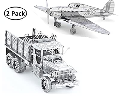 3D Metal Puzzle Models Of Military Truck, Hawker Hurricane Warplane - DIY Toy Metal Sheets Assembling Puzzle, 3D puzzle – 2 Pack
