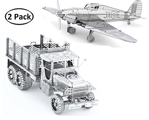 - 3D Metal Puzzle Models Of Military Truck, Hawker Hurricane Warplane - DIY Toy Metal Sheets Assembling Puzzle, 3D puzzle - 2 Pack