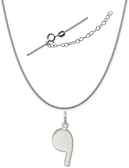 18 LavaFashion Sterling Silver Polished Whistle Charm Necklace