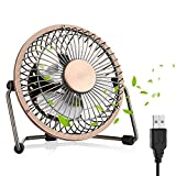 USB Fan, Desktop Fan Mini USB Fan Table Desk Personal Fan, Mini Table Fan Quiet Operation Desk Fan Suitable for Home Office Travelling Household, 6 inch Bronze
