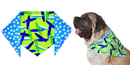 Boys Surfboard Bandana for Dogs (S) Ties on 9″ – 10″ neck, My Pet Supplies