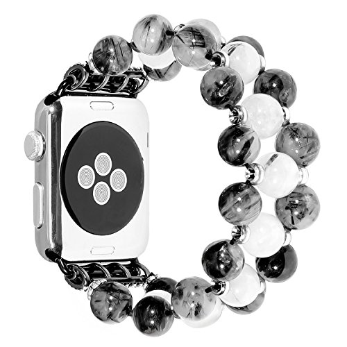 Handmade Elastic Luxury Crystal Beaded Bracelet Watch Strap Replacement Band Compatible for Apple Watch 38mm/42mm Series 3 Series 2 Series 1 All Models (Black and White, 38 mm) - Beaded Stretch Watch