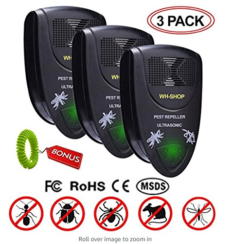 [Upgraded 2018] Ultrasonic Pest Repellent - Highly Effective Plug-In Electronic Pest Repeller , Indoor Pest Control for Mice, Bugs, Mosquito, Rats , Uses Sonic Sound ,Set of 3 + FREE Mosquito Bracelet (Mouse Trap Plug In)