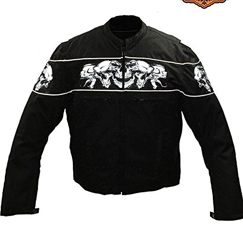 Dream Men's Motorcycle High visibility reflective skull textile jacket 2 Gun pockets (XL ()