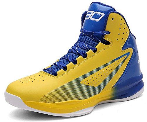 Chaussures De Basket-ball De Performance De Jiye Womens Lace Up Sport Sneakers De Mode Jaune Bleu