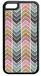 Glitter Chevron Stripes - Case for the Apple Iphone 6- Hard Black Plastic Snap On Case