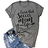VILOVE Womens Livin That Soccer Mom Life T-Shirt Round Neck Short Sleeve Top Tees (Large, Gray)