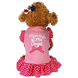 Dog Clothes Wakeu Pet Puppy Apparel mommy's little love Dress Vest Clothes for Small Dog Girl (Pink, S)