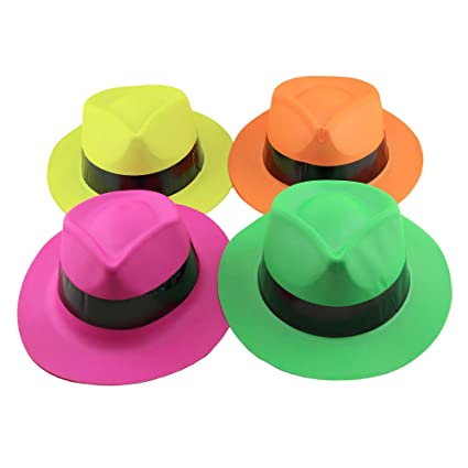 Amazon.com  12 pack Neon Bright Gangster Fedora Hats Photo Booth ... 9ff858b8ee5
