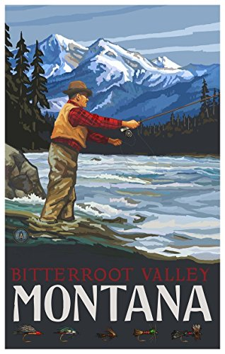 Bitterroot Valley Montana Fly Fisherman Stream Mountains Travel Art Print Poster by Paul A. Lanquist (12