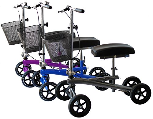 (Isokinetics Inc. Steerable Knee Walker/Scooter - Blue - Deluxe - w/Most Sought Features---a Removable Basket, Non-Scuff Wheels, Locking Brakes---and one just for fun---a Bell)