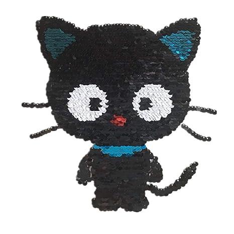 Scrox 1pcs Bordados para Ropa Doble Cara Lindo Gato Negro Patch Sticker Lentejuelas Parches Bordados DIY