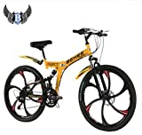 dpaerofly 21 Speed Sports Ride Mountain Bike Folding Bicycle 26'' Wheel Full Suspension