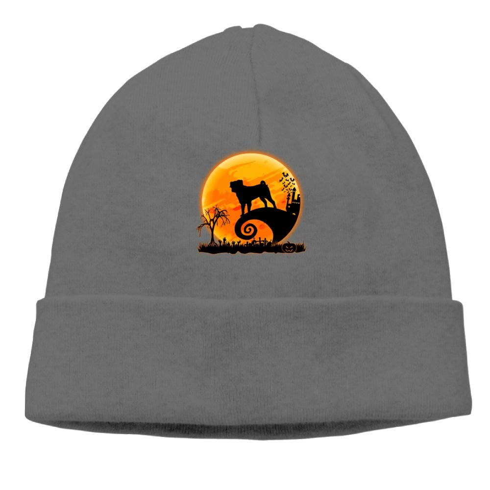 Oopp Jfhg Pug and Moon Halloween Beanie Knit Hat Ski Caps Mens DeepHeather