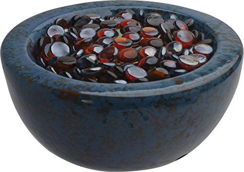 Bond Manufacturing 50013 Tabletop Umbrella Hole Mounted Gas Firebowl with Lava Glass, Blue