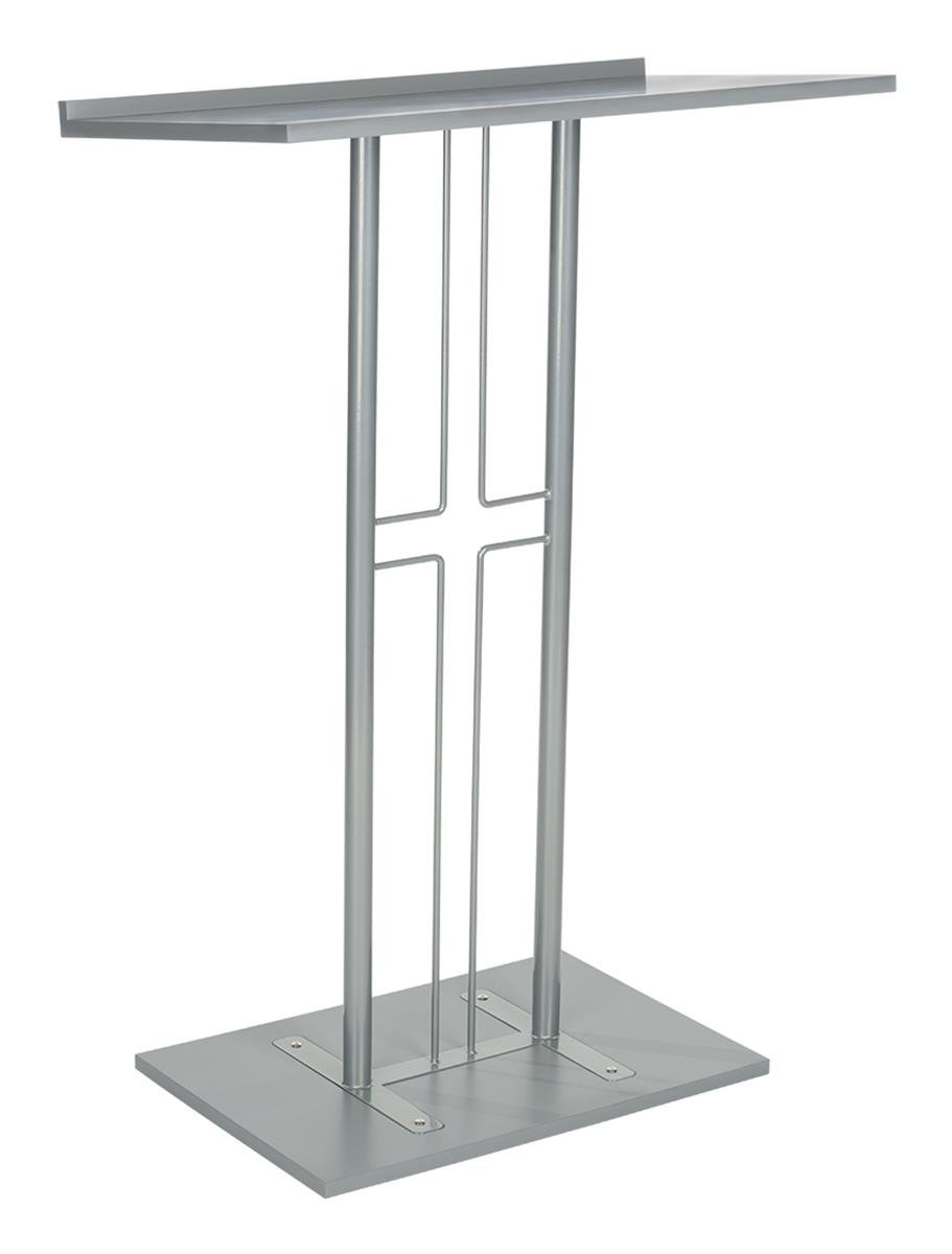 Displays2go Cross Podium, Floor Standing Pulpit, Slanted Top, Steel with Wood Base, Silver (LCTPCRSSLV) by Displays2go