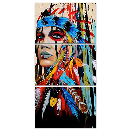 KICODE 3Pcs Set American Indian Oil Painting Wall Art Print Waterproof Abstract Canvas Feathered Decoration Home