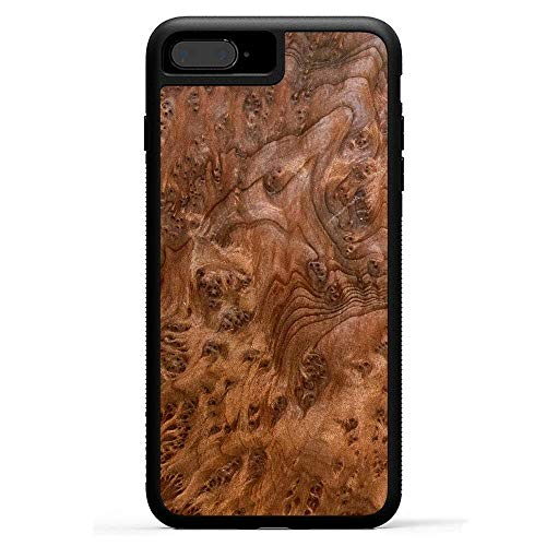 Carved | iPhone 8 Plus | Luxury Protective Traveler Case | Unique Real Wooden Phone Cover | Rubber Bumper | Redwood Burl