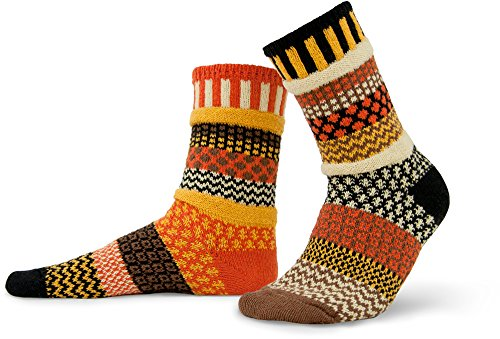 Solmate Socks - Mismatched Crew Socks; Made in USA; Scarecrow -