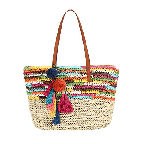 Daisy Rose Large Straw Beach Tote Bag with Pom Poms and Inner Pouch -Vegan Leather Handles, Bright Multi Color