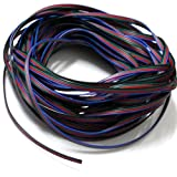 EvZ 22AWG 4pin LED Electric Wire 22 Gauge 33ft 10m Conductor Extension Cable Line Cord for RGB LED Strip 5050 3528