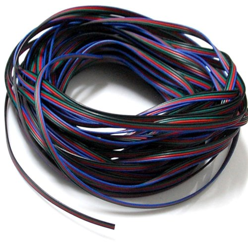 EvZ 4 Color 20m RGB Extension Cable Line for LED Strip RGB 5050 3528 Cord 4pin (Lights Led Line)