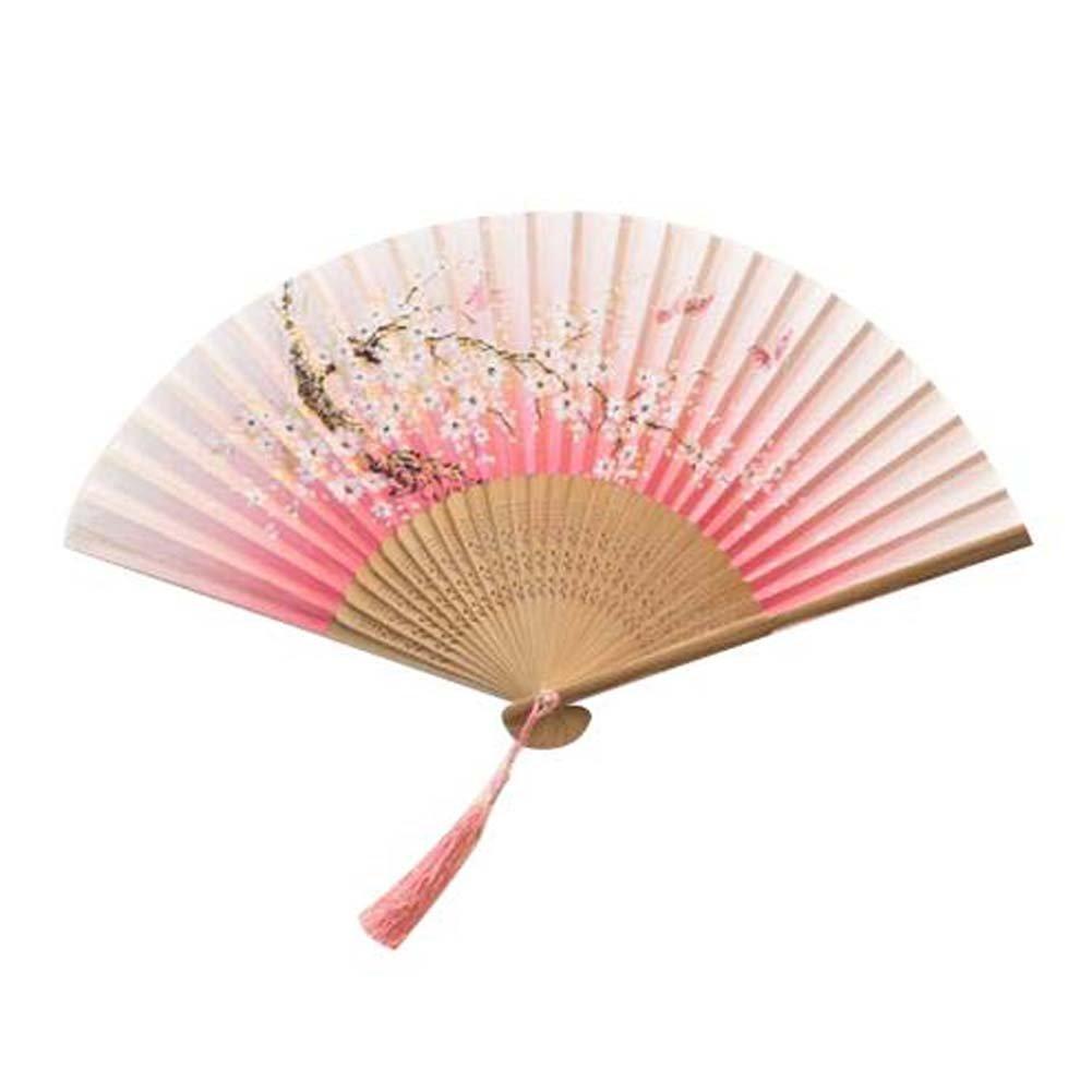 Panda Superstore Fashion Handheld Fan Chinese/Japanese Silk Handheld Folding Fan Folding Fan
