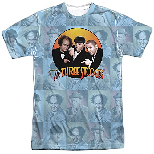 Trevco Men's Three Stooges Double Sided Print Sublimated T-Shirt, Portraits White Large ()