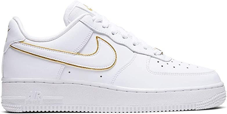Nike Women's Air Force 1 '07 Essential Casual Shoes (8,  White/White/Metallic Gold/White)