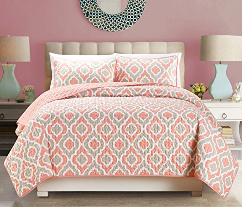3-Piece Fine printed Quilt Set Reversible Bedspread Coverlet FULL / QUEEN SIZE Bed Cover (Pink, Off-White, Coral, - Grey Coral