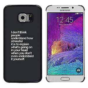 Gris Blanco Inspiring Pensamiento Insight- Metal de aluminio y de plástico duro Caja del teléfono - Negro - Samsung Galaxy S6 EDGE (NOT S6)