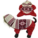 Dogloveit Pet Puppy Cat Dog Clothes Snowflake Style Dog Sweater with Woolen Hood Warm Dog Hoodie for Dogs XS S M L XL (Red, XL)
