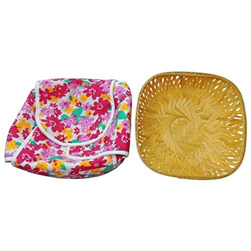 SHOPATHON INDIA Roti Chapati Cane Tokari Basket with Printed Removable Washable Elastic Cotton Cover (Assorted Colours)