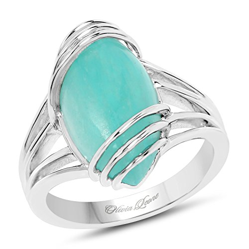 Jewelry Amazonite (6.12 Carat Genuine Amazonite .925 Sterling Silver Ring)
