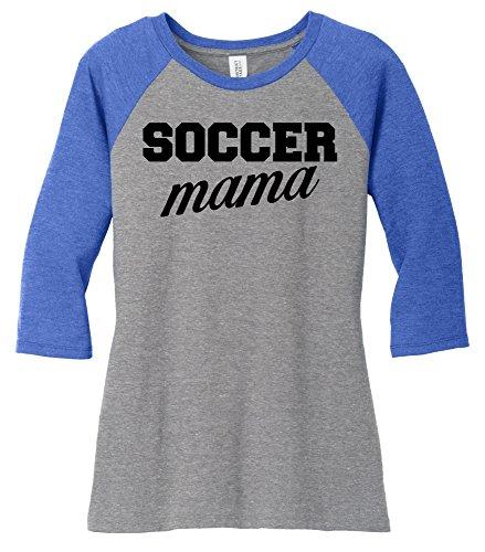 Comical Shirt Ladies 3/4 Raglan Soccer Mama Royal Frost/Grey Frost M